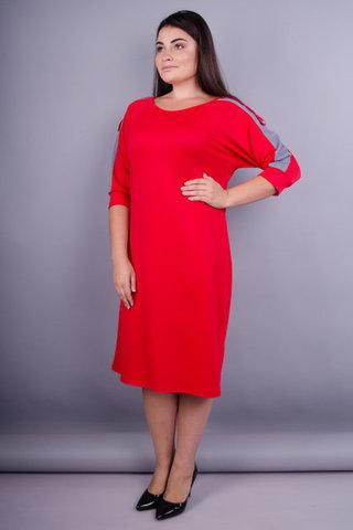 Інеса. Яскрава сукня для жінок плюс сайз. Червоний.