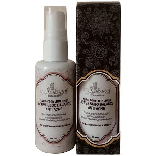 Крем-гель для лица active sebo balance anti acne противовоспалительный для проблемной жирной, комбинированной кожи с экстрактом лимона и клюквы Шоконат