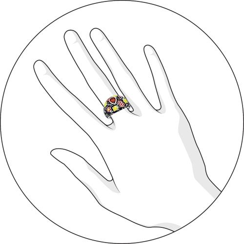 Кольцо из серебра с разноцветной эмалью и фианитом