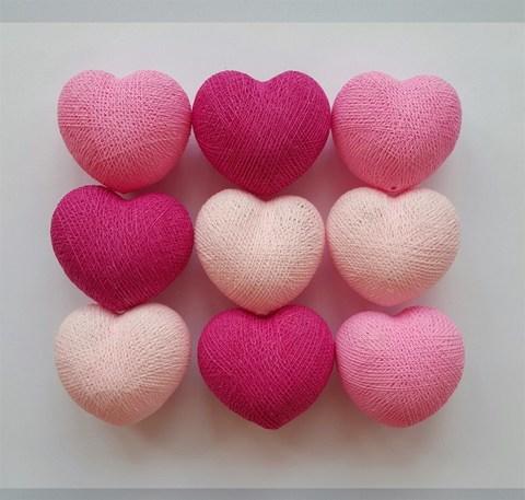 Тайская гирлянда сердечки оттенки розового
