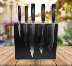 Набор из 5-ти кухонных ножей Samura Damascus с подставкой WoodinHome