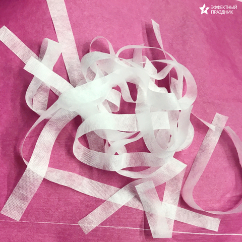 Пушистые белые полоски для шоу 1.5 см х 30 см