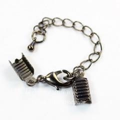 Концевики для шнура 3,5 мм с карабином и цепочкой (цвет - черный никель)