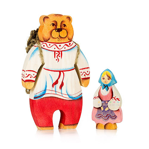 Маша и медведь (5 фигур из дерева) Сказки дерва