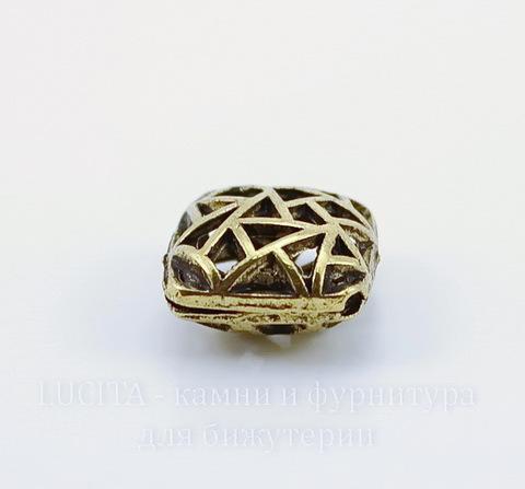 """Бусина металлическая - ромб """"Мозаика"""" 17х17 мм (цвет - античное золото)"""