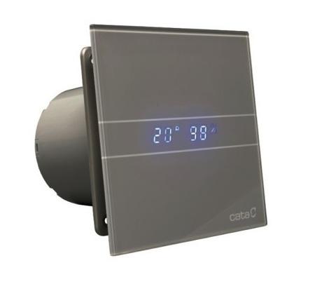 Cata E 100 GSTH Silver (Влажность, таймер, термометр, дисплей) + обратный клапан накладной вентилятор