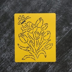 Трафарет №6 Бабочка на цветах
