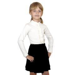 Школьная трикотажная блузка для девочки (белая)