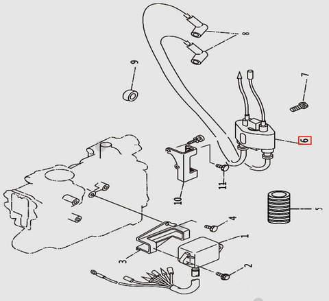 Катушка зажигания со свечным проводом для лодочного мотора T9.8 Sea-PRO (9-6)