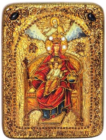 Инкрустированная икона Образ Божией Матери Державная 20х15см на натуральном дереве в подарочной коробке