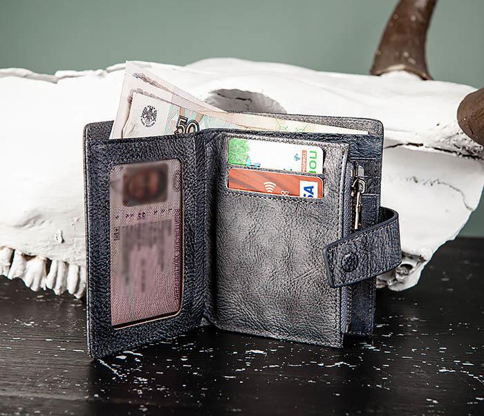 WL330-3 Портмоне из кожи с монетницей на застежке фото 09