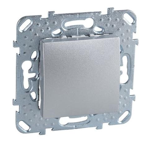 Выключатель одноклавишный. Цвет Алюминий. Schneider electric Unica Top. MGU5.201.30ZD