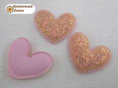 Мягкий декор Сердца конфетные персиковые