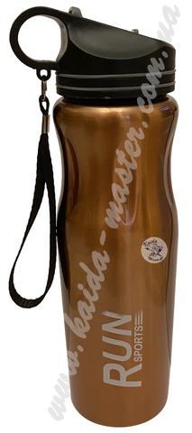 Бутылка спортивная 0,8 л с ремешком из нержавеющей стали