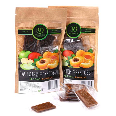 Пастила Vitaminos с абрикосом и яблоком, Supernut, 80г