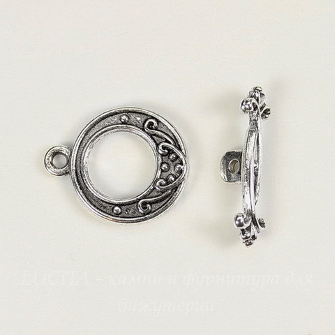 "Замок - тоггл из 2х частей ""Узор"" 19х15 мм, 21 мм (цвет - античное серебро)"