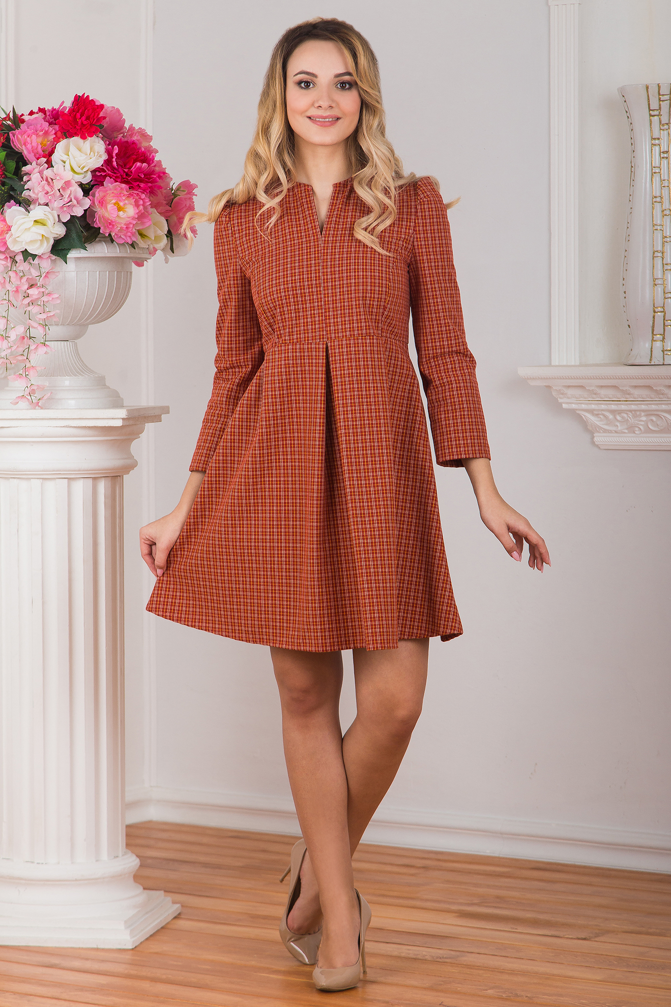 Платье клетчатое Рыжая осень