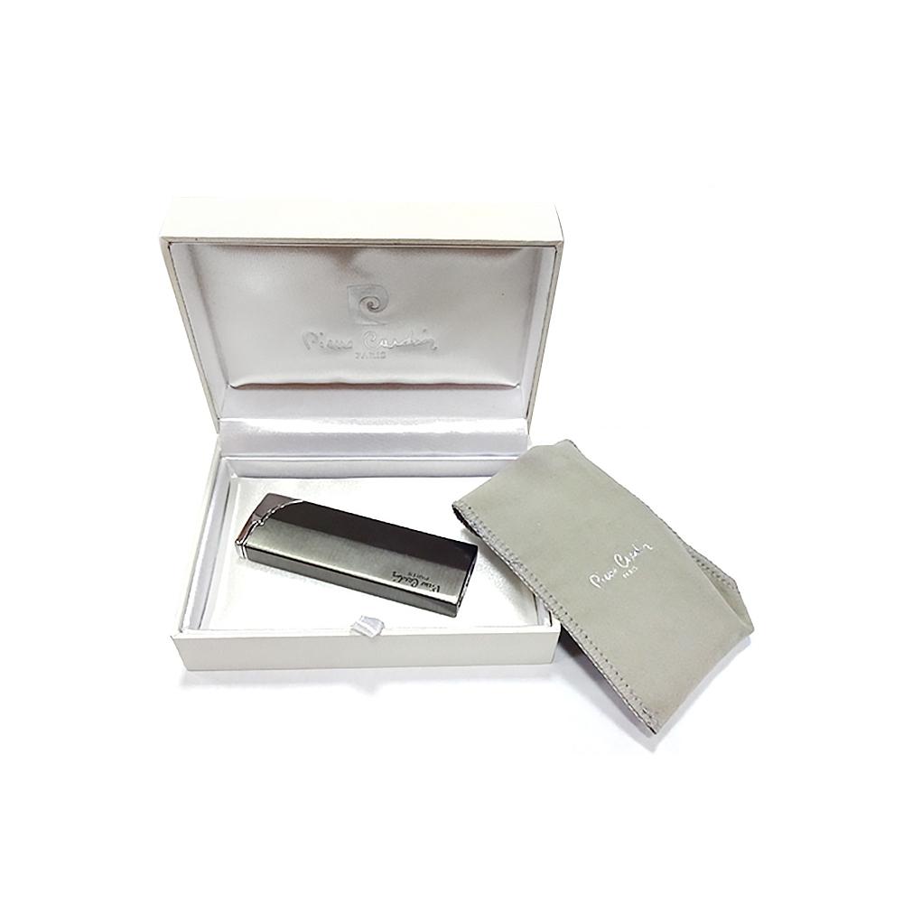 Зажигалка Pierre Cardin кремниевая газовая пьезо, цвет хром/темная бронза, матовая, 2,5х1х7,5см