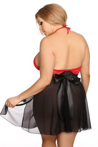 Эротическая сорочка для полных черно-красная