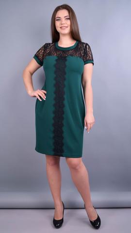 Ваниль. Комбинированное платье плюс сайз. Изумруд.
