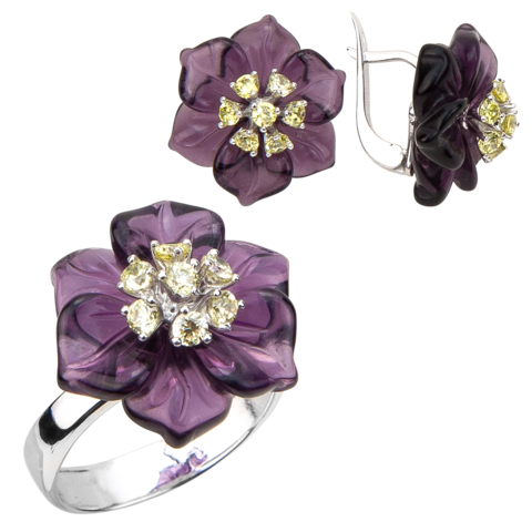 Комплект украшений с цветами из фиолетового кварца и фианитами № БА1