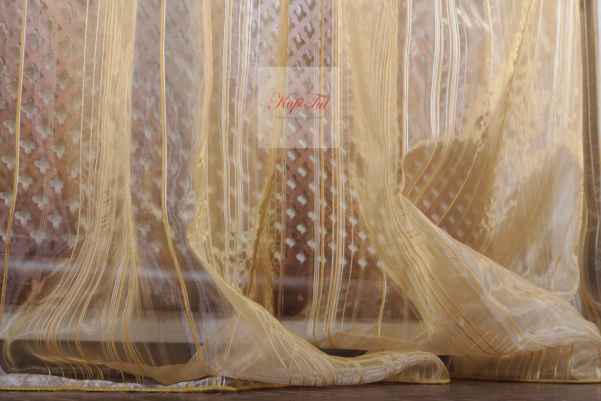 Тюль в полоску. Органза Orkide-2 (золото)