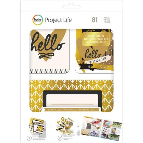 Kit набор карточек и украшений- Project Life Value Kit- Be Fearless W/Gold Foil Treatments- 81шт