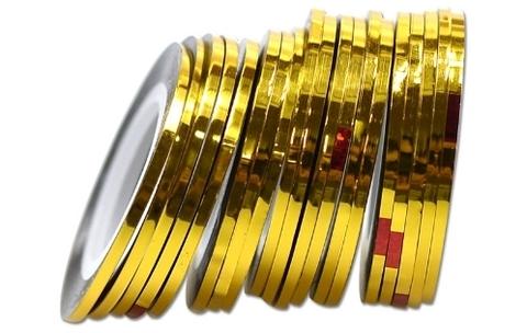 Лента самоклеющаяся глянец золото 2мм