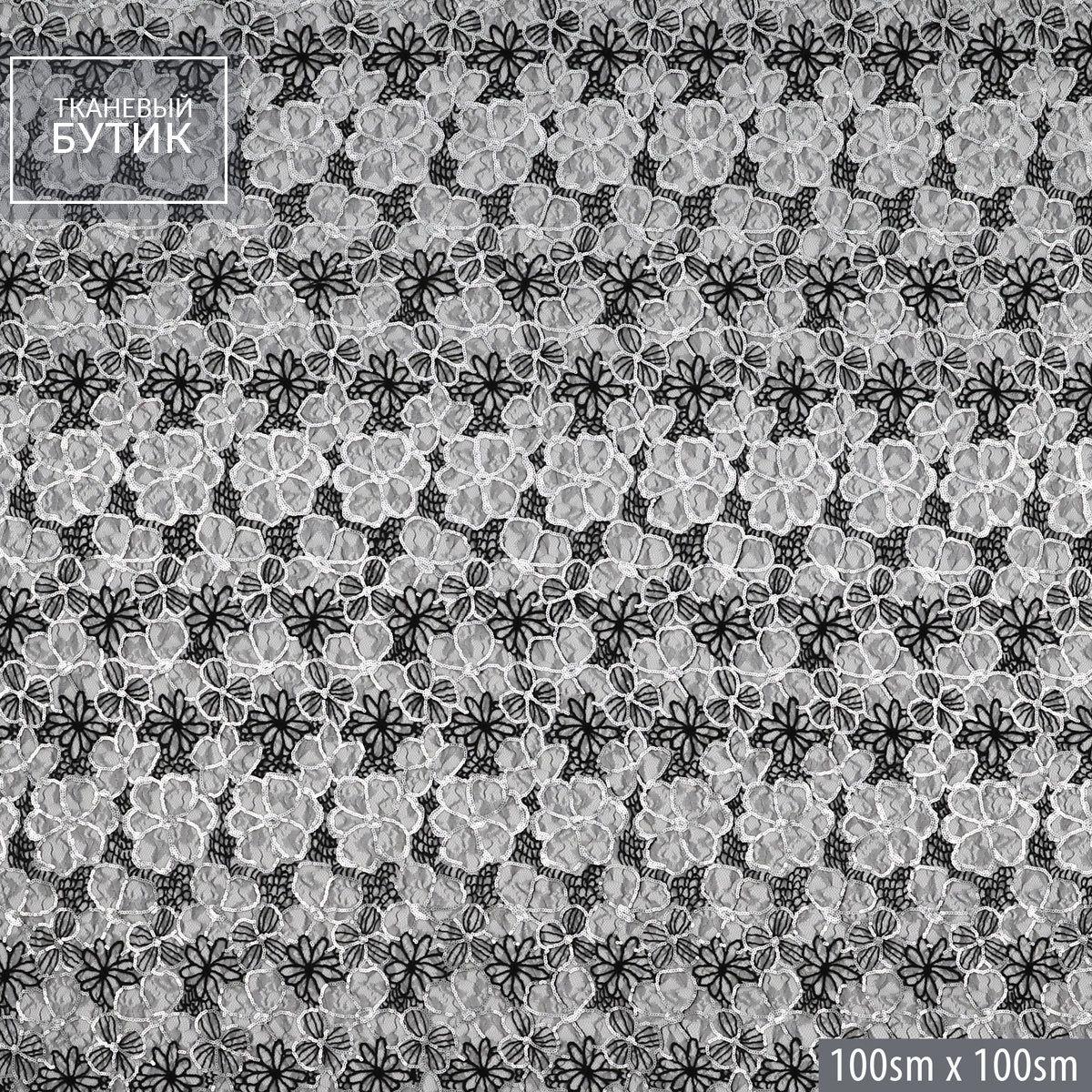 Черная вышивка по сетке с серебряными пайетками