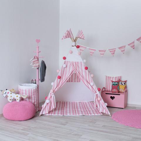 Игровой коврик к вигваму Pink Stripes Tipi розовые полосы