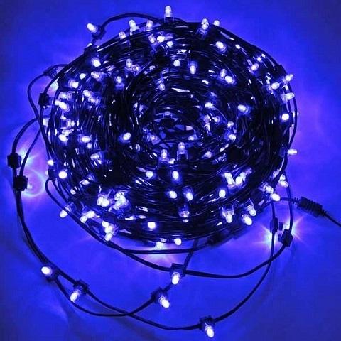 Светодиодный клип лайт Синий, 12V, без колпачка, шаг диодов 150мм, провод темный, бухта 100 метров, без трансформатора.