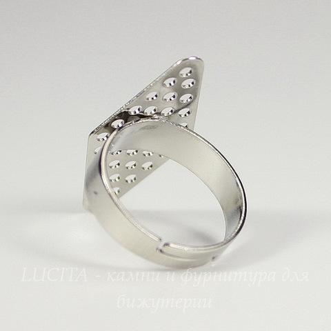 """Основа для кольца с ситом """"Ромб"""" 28х14 мм (цвет - платина)"""