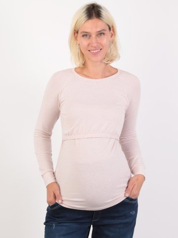 Евромама. Джемпер для беременных и кормящих в полоску, светло-розовый