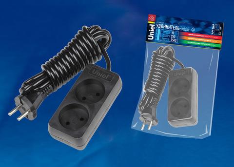 S-CD2-3 BLACK Удлинитель серии Standart, шнур 3м., 2 гнезда, б/з. Черный. TM Uniel.