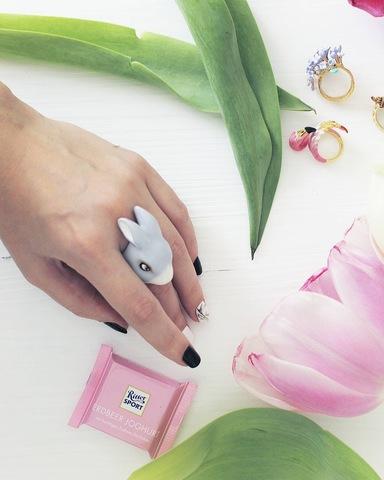 Кольцо Кролик (светло-серый)
