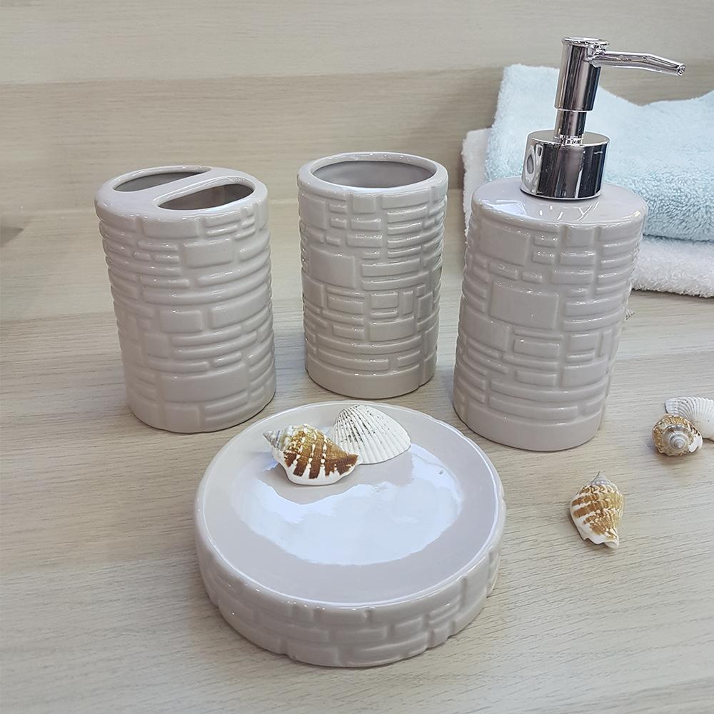 Ванный набор, керамика, кремовый, 500 мл.