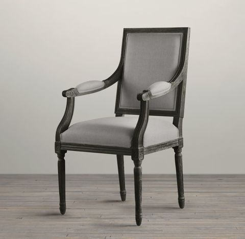 Vintage French Square Back Fabric Armchair