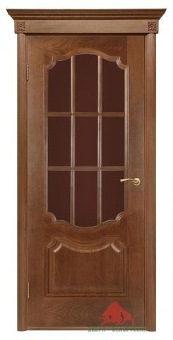Дверь Двери Белоруссии Престиж ПО с решёткой, цвет каштан, остекленная