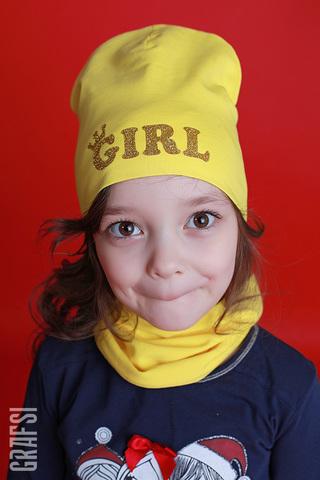 072К Шапка двухслойная GIRL. Желтая.