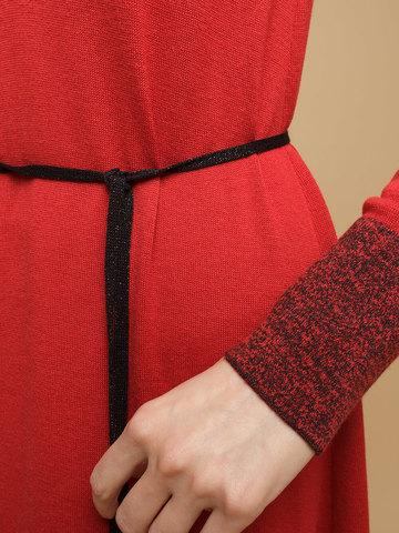 Женское платье красного цвета из шерсти и шелка - фото 6