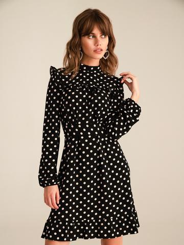 Платье прямое с воланом
