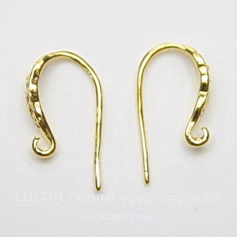 """Швензы - крючки """"Волна"""", 15 мм (цвет - золото), пара"""