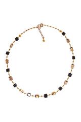 Ожерелье из муранского стекла Arlecchino Cubo золотистое квадратное