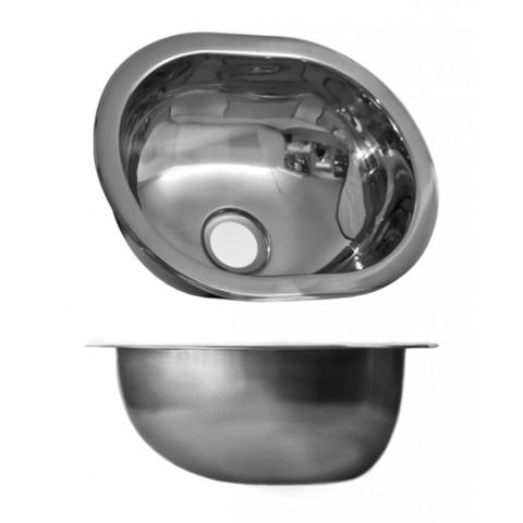 Раковина овальная из нержавеющей стали 127х305 мм