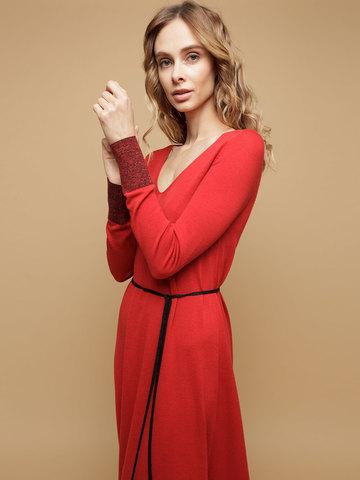 Женское платье красного цвета из шерсти и шелка - фото 5