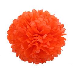 Помпон из бумаги 30 см оранжевый