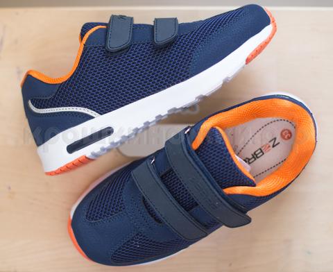 Кроссовки синие с оранжевым Зебра (ТК Луч)