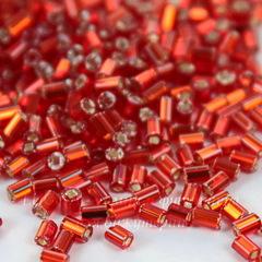 Бисер Preciosa рубка 2,3 мм прозрачный красный с серебряным центром (кв. отв.)