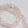 Бусина стеклянная, биконус, цвет - светлый розовый с перламутром, 4 мм, нить