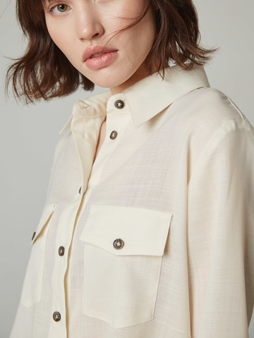Рубашка с контрасными пуговицами из шерсти молочный